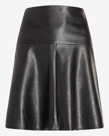 High Waisted Vegan Leather Flare Mini Skirt