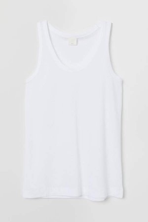 Cotton-blend Tank Top - White