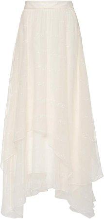 Tiered Silk Midi Skirt