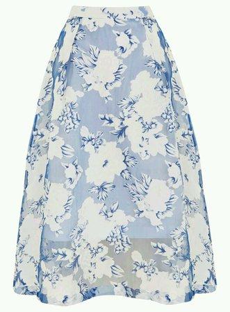 MISS SELFRIDGE BLUE WHITE FLORAL ORGANZA MESH CO-ORD LONG MIDI SKIRT UK 4 EU 32 | eBay