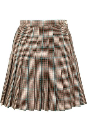 Off-White   pleated checked wool mini skirt