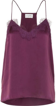 The Racer Lace-trimmed Silk-charmeuse Camisole - Burgundy