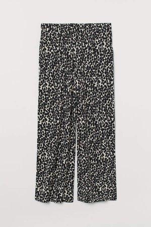 H&M+ Wide-cut Jersey Pants - Beige