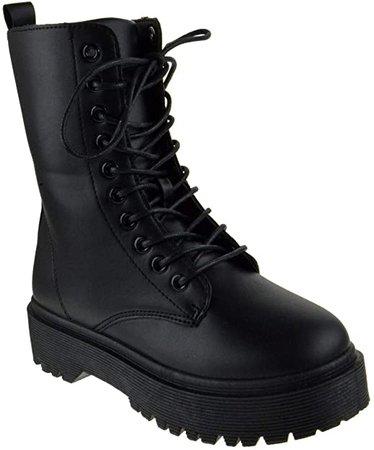 Amazon.com   Wild Divaa Rani 04B Womens Lace Up Platform Combat Boots Black 7.5   Ankle & Bootie
