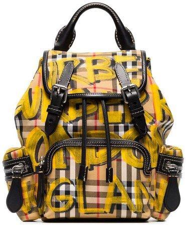 graffiti check cotton rucksack