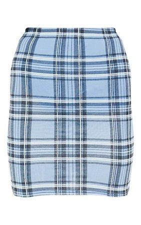 Pastel Blue Check Print Mini Skirt | Skirts | PrettyLittleThing USA
