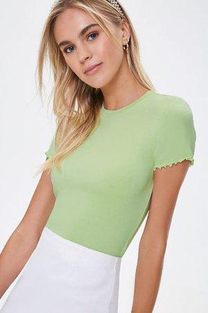 Green Lettuce-Edge Short Sleeve Tee