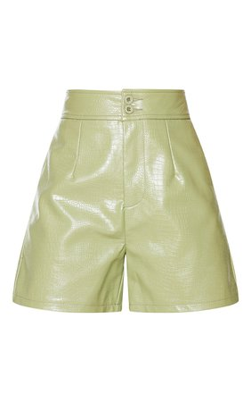 Sage Faux Leather Croc Effect Shorts - View All   PrettyLittleThing USA