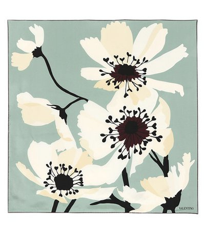 Floral-printed silk scarf