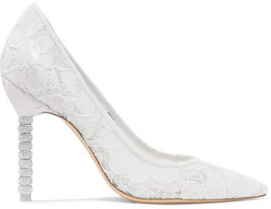 Coco Crystal-embellished Lace Pumps - White