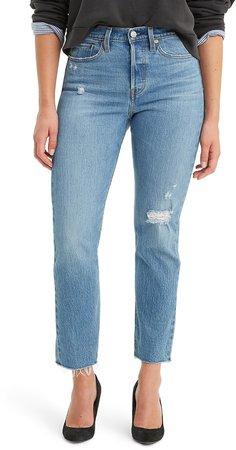 Wedgie Icon Fit High Waist Raw Hem Jeans