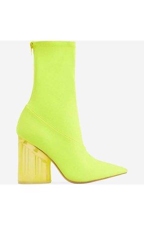 Niko Perspex Block Heel Pointed Ankle Sock Boot in Neon Yellow Lycra