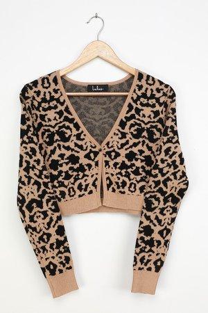 Beige Cardigan Sweater - Animal Print Cardigan - Knit Cardigan - Lulus