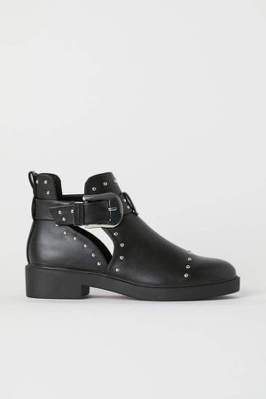 Ankle Boots with Studs - Black
