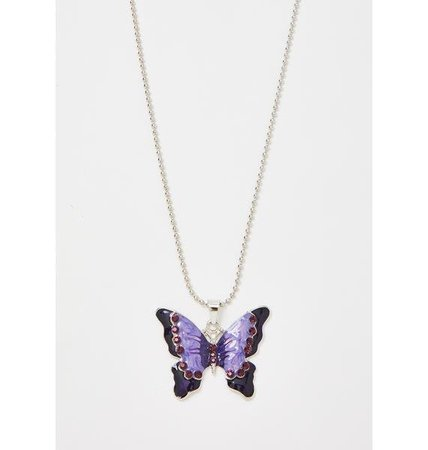 Purple Butterfly Ball Chain Necklace | Dolls Kill
