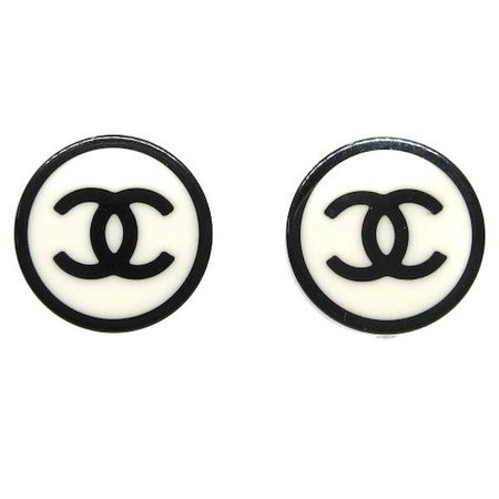 Chanel Cc Logos Earrings Earrings White Black