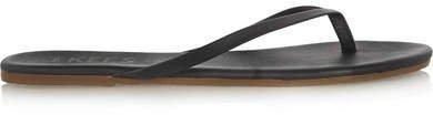 Lily Matte-leather Flip Flops - Black