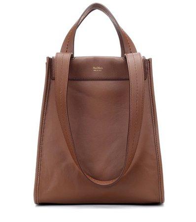 Large reversible leather shopper