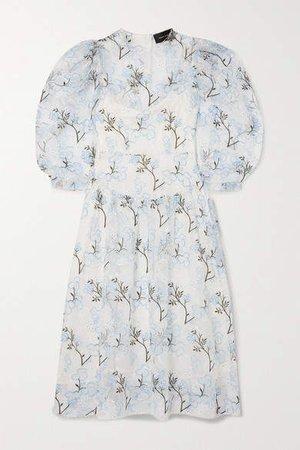 Ruffled Embroidered Organza Midi Dress - Ivory