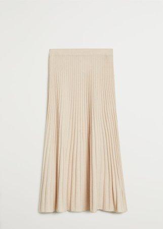 Pleated knit skirt - Women   Mango USA