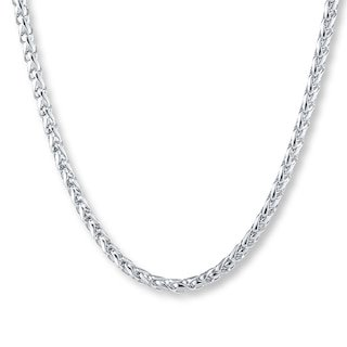 """Men's Wheat Chain Stainless Steel Necklace 22"""" Length 