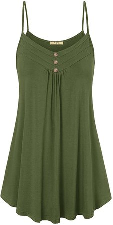 Viracy Women's Summer Button V Neck Pleated Spaghetti Strap Camisole Tank Tops at Amazon Women's Clothing store