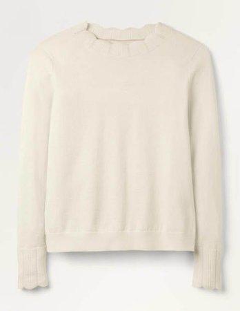 Hambleden Scallop Sweater - Ivory