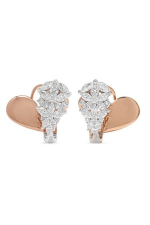 YEPREM | 18-karat rose and white gold diamond earrings | NET-A-PORTER.COM