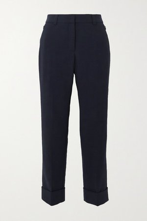Cropped Wool-blend Straight-leg Pants - Navy