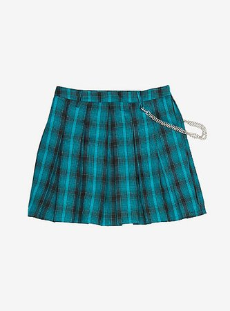 Teal Plaid Pleated Chain Skirt Plus Size
