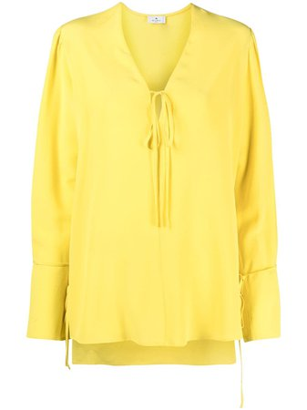 Shop yellow Etro crepe-chiffon blouse with Express Delivery - Farfetch