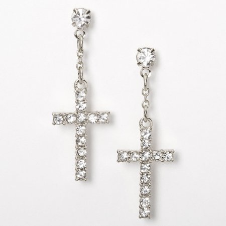 """Silver 1"""" Embellished Cross Drop Earrings 