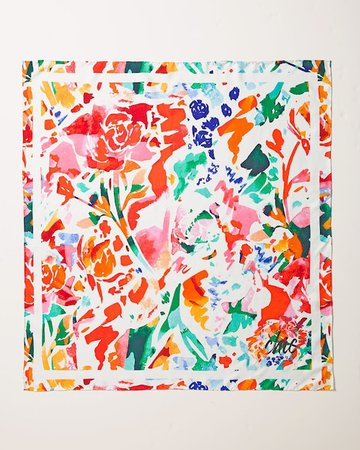 Silk Abstract Floral-Print Square Scarf - Chico's