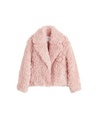 MANGO Fur leather coat