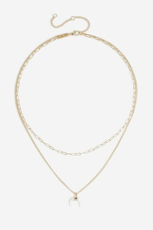 **Horn Charm Multirow Necklace   Topshop
