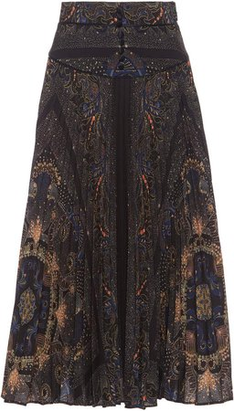 Etro Printed Georgette Midi Skirt