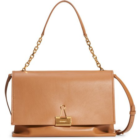 Large Binder Clip Leather Shoulder Bag
