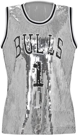 Amazon.com: Howriis Women's Silver Sequins Basketball Tank Vest (One Size, Silver): Clothing