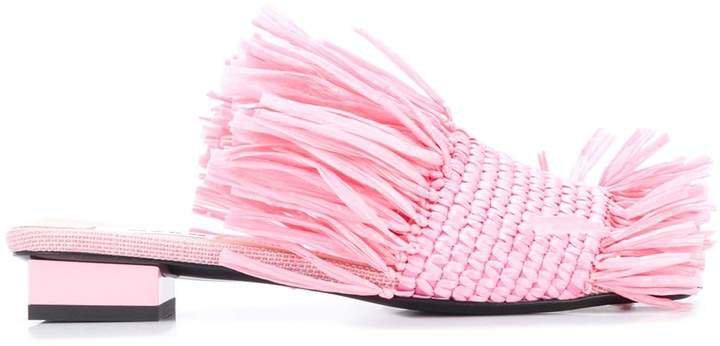 Fringed Woven Upper Sandals