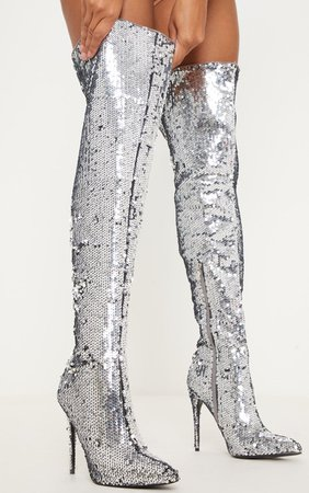 Silver Sequin Over The Knee Boots | PrettyLittleThing USA