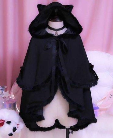 Black Cat Hoodie Bat Sleeve Cloak Coat SD01743 – SYNDROME - Cute Kawaii Harajuku Street Fashion Store