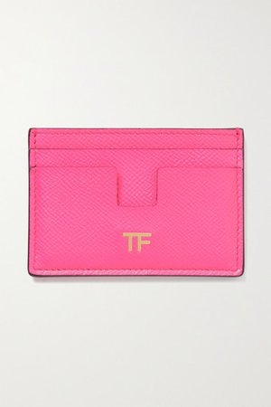 Textured-leather Cardholder - Bright pink