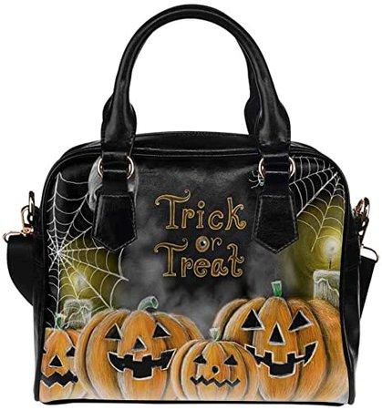 Halloween Pumpkin Skull PU Leather Purse Handbags Shoulder Crossbody Bag for Women Girls: Handbags
