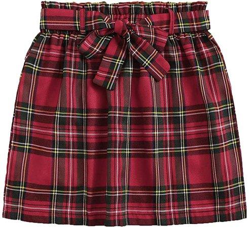 WDIRARA Women's Summer Casual Tartan Plaid High Waist Self Tie Mini Short Skirt Red