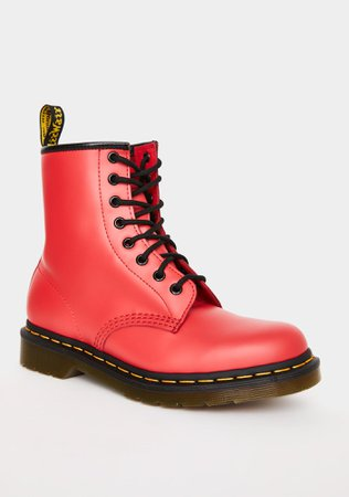 Dr. Martens Red 1460 Smooth Color Pop Boots | Dolls Kill