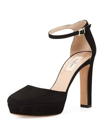 Valentino Suede Ankle-Wrap Platform Pump, Black
