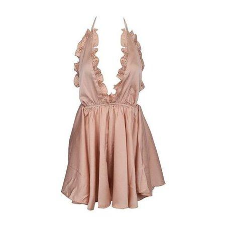 Eye Candy Ruffle V Neck Backless Dress