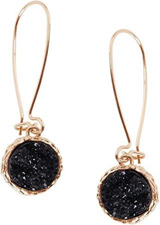 Humble Chic Simulated Druzy Threaders - Boho Glitter Upside-Down Long Hoop Dangle Drop Earrings for Women, Black, Simulated Onyx, Gold-Tone: Jewelry