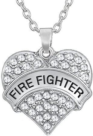 Firefighter Necklace Firefighter jewelry Fireman gift Diamond Jewelry Crystal Heart Necklace | Amazon.com