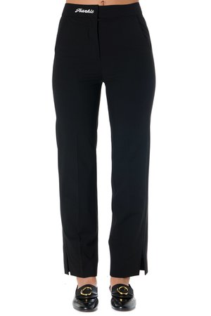 Frankie Morello High Waisted Tailored Black Pants With Logo